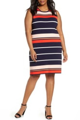 Eliza J Stripe Sleeveless Sweater Dress (Plus Size)
