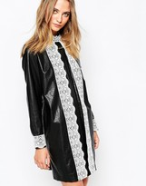 Gat Rimon Okky Black Leather Look Dress in Black