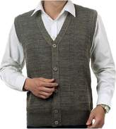Mullsan Men's Lambswool V Neck Button Sweater Vest (L, )