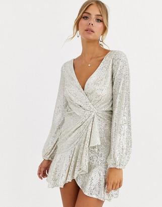Forever New sequin flippy hem wrap dress in silver