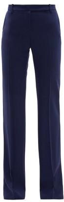 Alexander McQueen Longline Flared Virgin Wool-twill Trousers - Womens - Navy