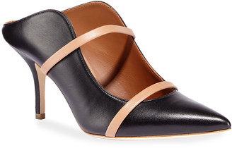 Malone Souliers Maureen 75mm Napa Leather Two-Strap Mules