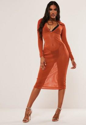 Missguided Orange Metallic Plunge Bodycon Midi Dress