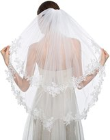 JYDress Women's Simple Bridal Wedding Veil with Comb Appliques Edge