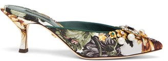 Dolce & Gabbana Crystal-embellished Floral-jacquard Mules - Womens - Multi