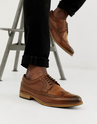 Asos Design DESIGN brogue shoes in polished tan leather