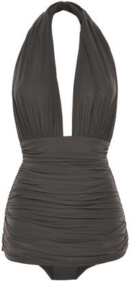 Norma Kamali Layered Ruched Crinkled Halterneck Swimsuit