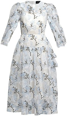 Simone Rocha Embroidered Puff-Sleeve Tulle Midi Dress