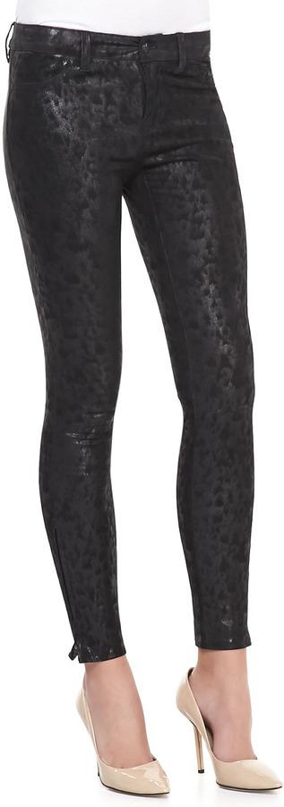 J Brand Jeans Wildcat Leather Skinny Pants, Noir