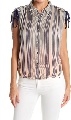 Free People Baby Blues Sleeveless Button Up Shirt