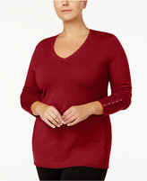JM Collection Plus Size Rivet-Cuff Sweater, Created for Macy's
