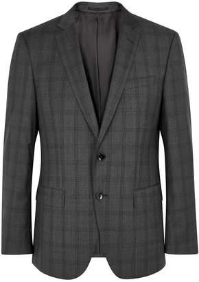 BOSS Grey Checked Wool Blazer