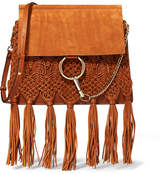 Chloé Faye Medium Braided Leather And Suede Shoulder Bag - Tan