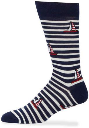 Neiman Marcus Men's Striped Sailboat Socks