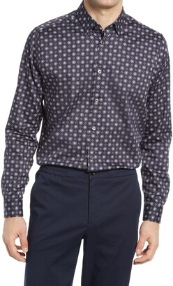 Ted Baker Trim Fit Geo Print Dress Shirt
