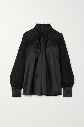Max Mara Enna Knotted Silk-satin And Chiffon Blouse - Black