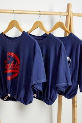 Urban Renewal Vintage Remade from Vintage Navy Bubble Hem T-Shirt - Blue M/L at Urban Outfitters