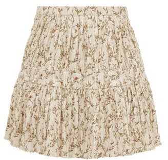 Sir - Alba Flora-print Cotton-blend Plisse Mini Skirt - Ivory Multi