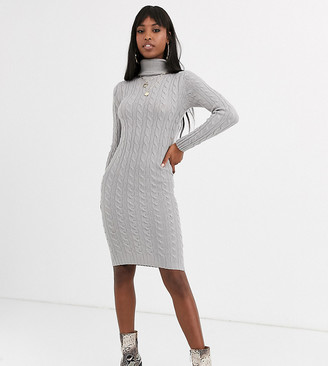Brave Soul Tall cuban roll neck cable knit jumper-Grey