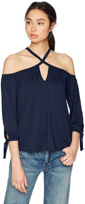 Three Dots Women's Refined Jersey Loose Short Cold Shoulder Top