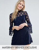 Queen Bee Tiered Lace Skater Dress With Fluted Sleeve