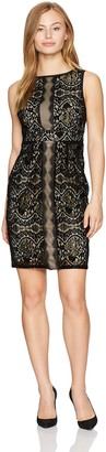 Adrianna Papell Women's Petite Scalloped Sheath Dress with Velvet Lace