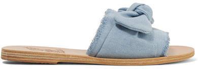 Ancient Greek Sandals Taygete Bow-embellished Denim Slides - Light denim