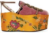 Gucci Convertible Embellished Velvet And Jacquard Platforms - Pink