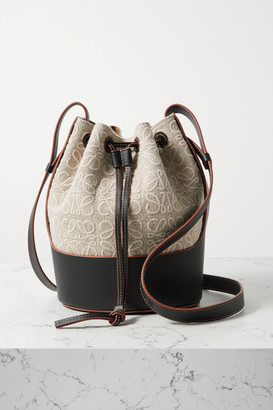 Loewe Balloon Small Embroidered Canvas And Leather Bucket Bag - Beige