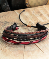 Nautilus Red Leather & Rope Stacked Bracelet