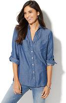 New York & Co. Soho Soft Shirt - Ultra-Soft Chambray Hi-Lo Split Back - Indigo Blue Wash