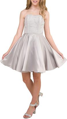 Un Deux Trois Girl's Strapless Sequin & Satin Party Dress, Size 14-12