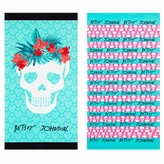 Betsey Johnson Tropical Striped Skull Beach Towel - Set of 2 - Pink/Multi