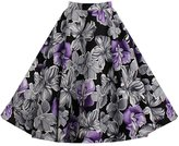 LECIMO Women Floral A-line Skater Midi Skirt with Pleated (,Size XXL)