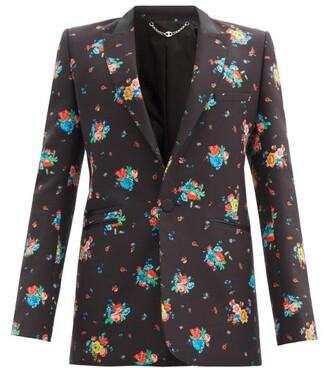 Paco Rabanne Floral-print Cotton-blend Twill Suit Jacket - Black Multi
