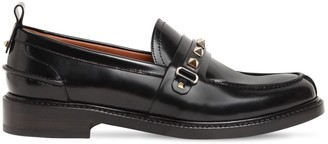Valentino 20mm Rockstud Brushed Leather Loafers