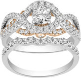 FINE JEWELRY Womens 1 1/3 CT. T.W. Genuine White Diamond 14K Gold Bridal Set