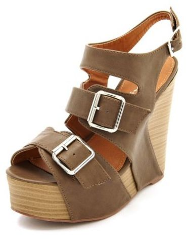 Charlotte Russe Triple Buckle Stacked Wedge