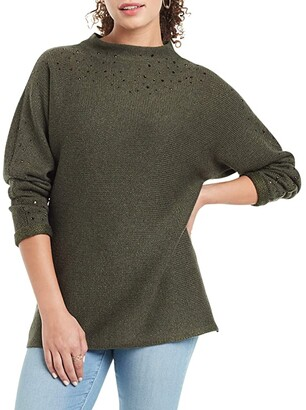 Nic+Zoe Petite Shine For Me Sweater (Rich Olive) Women's Clothing
