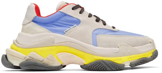 Balenciaga Grey and Blue Triple S Sneakers