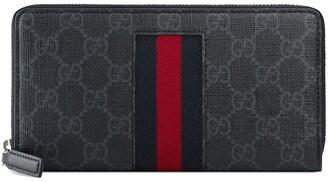 Gucci black GG Supreme Web zip around wallet