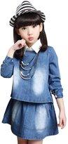YJ.GWL Big Girl's Spring Autumn Denim Jacket Skirt 2 pcs sets(,120)