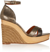 Lanvin Metallic lizard-effect leather wedge sandals