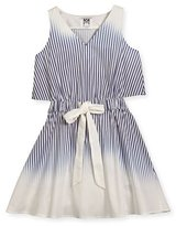 Milly Minis Jeanie Ombre Stripe Open-Back Fit-and-Flare Dress, Blue, Size 8-16