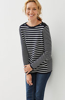J. Jill Shoulder-Zip Striped Pullover