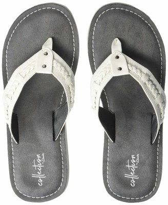 Clarks Women's Fenner Nerice Flip-Flop White Synthetic 050 M US