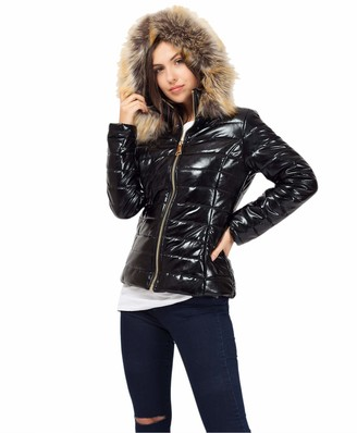 Lexi Fashion Ladies Womens Quilted Wet Look Mnclr Style Puffer Bubble Padded Faux Fur Hooded Collar Trim Winter Warm Thick Parka Jacket Coat Size 12 Black