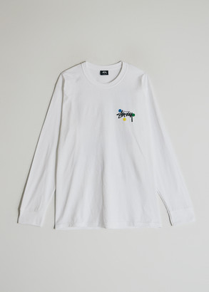 Stussy Dot Collage Long Sleeve T-Shirt in White, Size Small | 100% Cotton