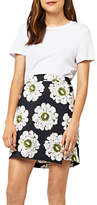 Warehouse Melody Floral Wrap Skirt, Black/Multi