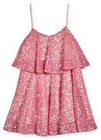 Milly Minis Sleeveless Sequined Floral Popover Tank Dress, Pink, Size 8-16